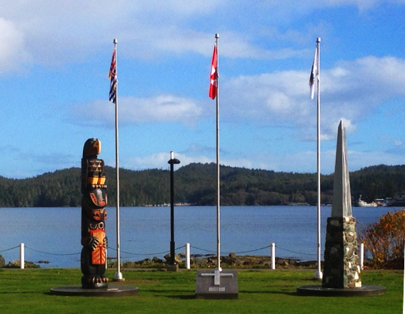 Port Hardys newly completed Cenotaph and First Nations Memorial Pole.