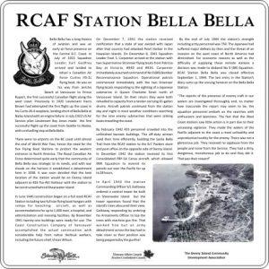 RCAF Bella Bella plaque